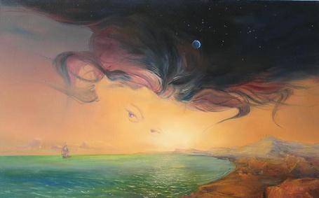 Фото Изображение глаз и волос девушки на небе, с луной и звездами над морем, по которому плывет корабль, художник Величко Роман Валерьевич