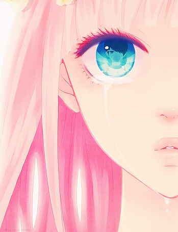 Фото Megurine Luka / Мегурине Лука (Vocaloid) плачет, в глазах отражается лицо пареня