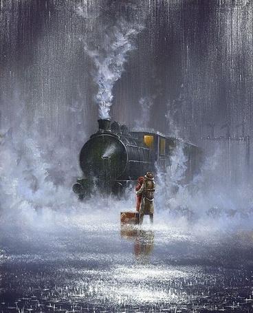 Фото Влюбленный целуются стоя под дождем на фоне поезда, художника Jeff Rowland