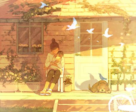 Фото Девушка сидит на стуле около входной двери с младенцем на руках, рядом пролетают птицы и спит собака, художник pon-marsh