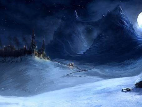 Фото Замок среди снега и гор, на фоне ночного неба и луны