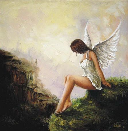 Фото Девушка - ангел сидит на холме, художница Elzbieta Mozyro