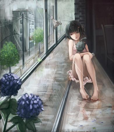 Фото Девушка с игрушкой кролика в руках сидит на мокром подоконнике у открытого окна, art by baka