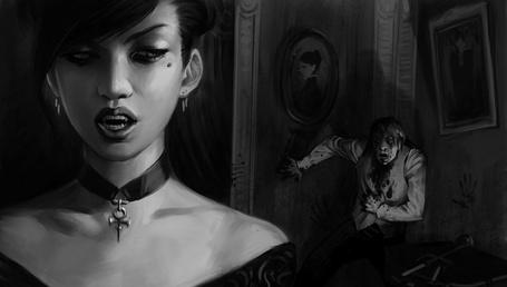 Фото Девушка-вампир укусила мужчину