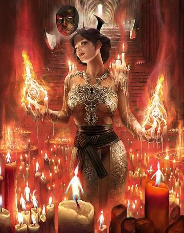 Фото Девушка среди горящих свеч