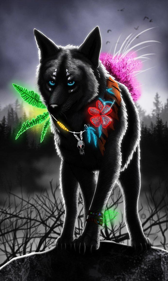 картинки волк с розами даже