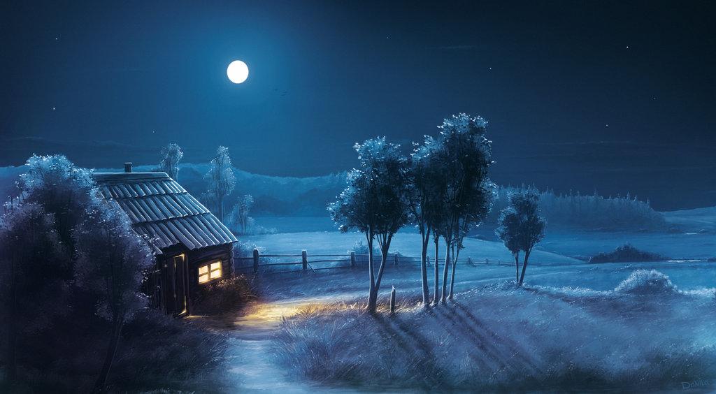 Луна освещает домик у дороги и природу, by danilakomlev
