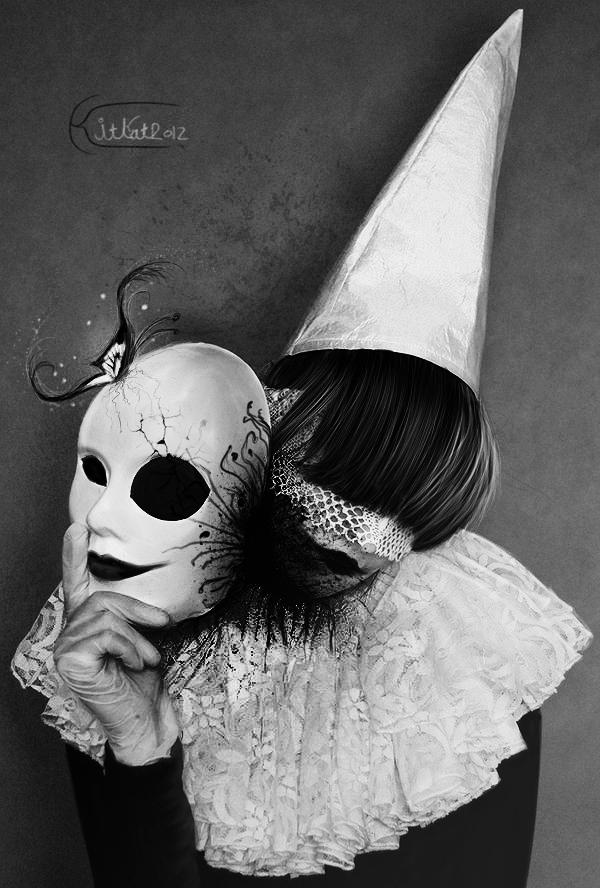 Клоун собаки девушка в маске
