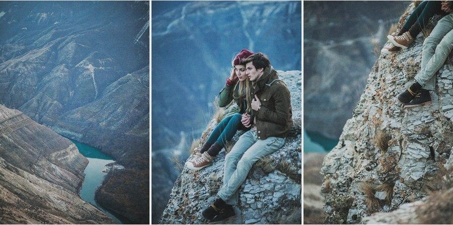 Фото Мужчина с девушкой сидят на горе над рекой, фотограф Alexey Kinyapin