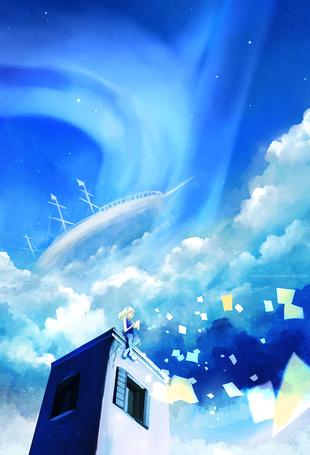 Фото Девушка сидит на крыше дома на фоне облачного неба в котором парит корабль, art by megatruh