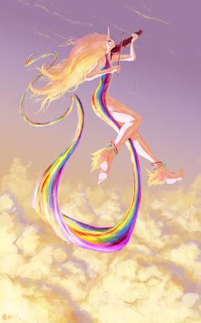 Фото Леди Ливнерог / Lady Rainicorn из мультсериала Adventure Time / Время Приключений в человеческом обличье играет на скрипке