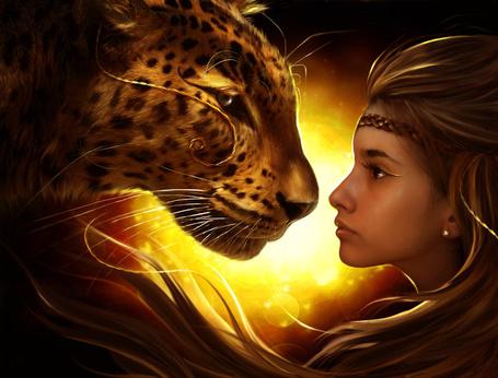 Фото Девушка и леопард, работа ElenaDudina