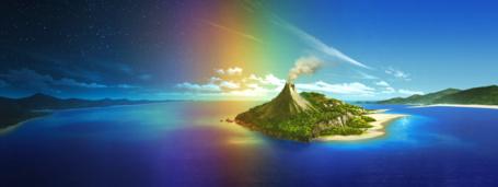 Фото Остров с действующим вулканом посреди океана, art by mocha (technoheart)