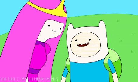 Фото Принцесса Бубльгум / Princess Bubblegum целует Финна / Finn, за ними насмешливо наблюдает Джек / Jack пес из мультсериала Adventure Time / Время Приключений