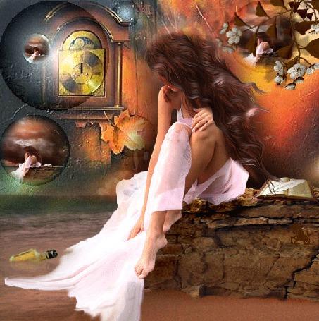 Фото Грустная девушка с развевающимися волосами