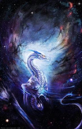Фото Дракон в космосе, art by Isvoc