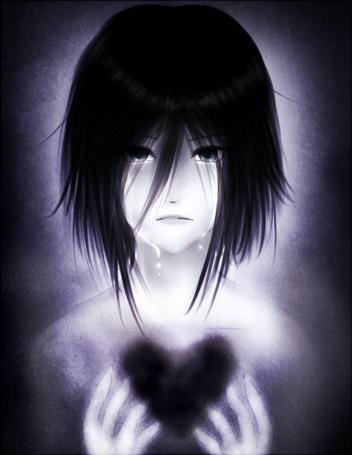 Фото Плачущая девушка с черным сердцем в груди