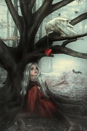 Фото Девушка сидит под деревом и белый ворон подает ей сердце на нитке, художник Blavatskaya