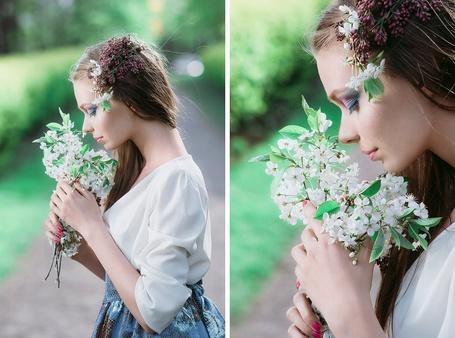 Фото Девушка нюхает белые цветы, фотограф Павел Михайлов