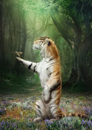 Фото Тигр стоит на задних лапах, на передней у него сидит птичка, а на голове лежит гнездо, by cold tommy gin
