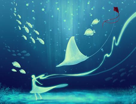 Фото Девушка плывет под водой, в окружении рыб: http://photo.99px.ru/photos/172149