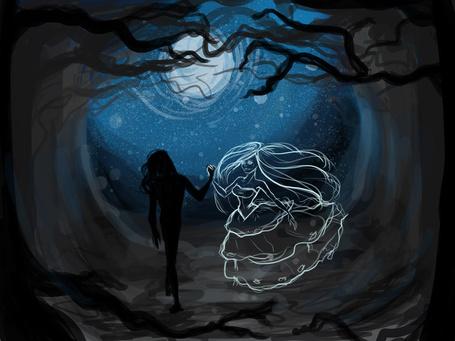 Фото Влюбленная пара на фоне ночного неба, by Hyanide