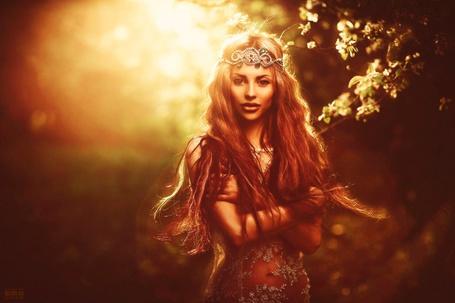 Фото Девушка стоит около цветущего дерева, фотограф Светлана Беляева