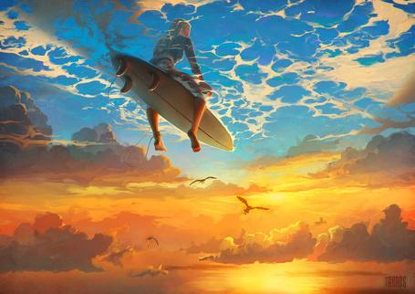 Фото Девушка сидит на доске для серфинга, плывя по воде, которая протекает выше облаков и летящих внизу птиц, художник RHADS