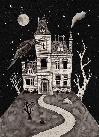 Фото Готический дом с человеком стоящим в окне, мигающим окном и огромным вороном на дымоходе на фоне звездного неба