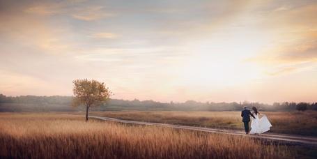 Фото Жених с невестой идут по дороге на фоне неба, фотограф Константин Рыбкин