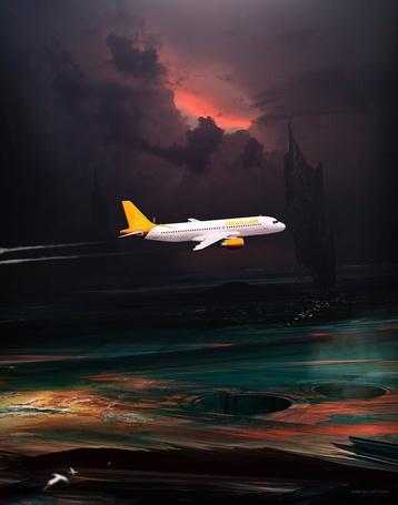 Фото Белый самолет на темном фоне облачного неба, художник Kuldar Leement