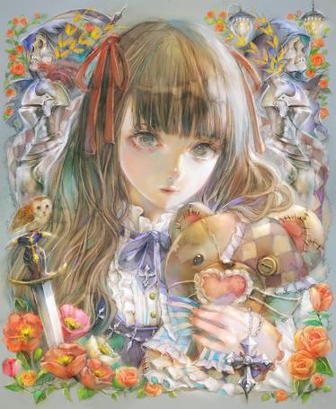 Фото Девушка с плюшевым медведем, art by YOGISHA