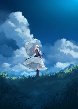 Фото Yukari Yakumo / Юкари Якумо из аниме Touhou Niji Sousaku Doujin Anime: Musou Kakyou / Мечты летних дней, стоит с зонтиком в руках, на фоне неба, художник Garnet (Pixiv 83452)