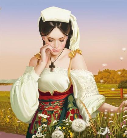 Фото Красивая девушка вытирает слезы