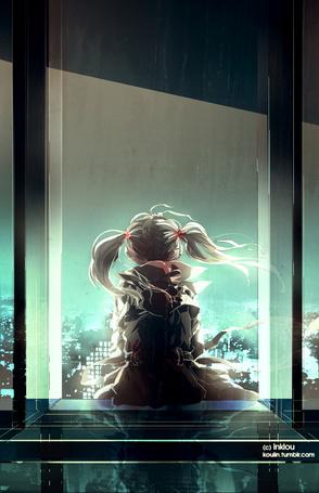 Фото Девочка сидит к нам спиной на подоконнике окна на фоне города, by Inklou