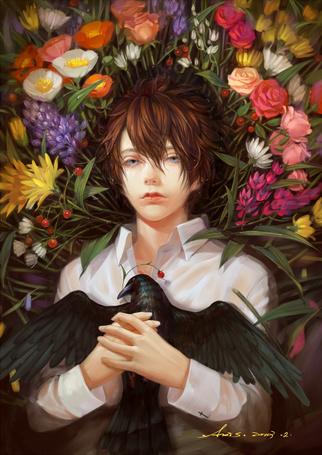 Фото Парень с вороной в руках лежит среди цветов, art by. Axis