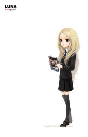 Фото Luna Lovegood / Полумна Лавгуд из фильма Harry Potter / Гарри Поттер, с журналом в руке, художник eLiz