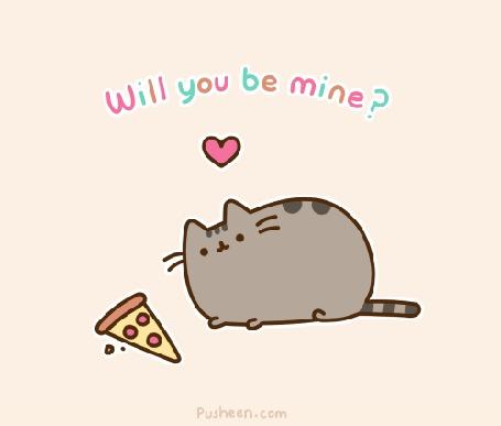 Фото Pusheen the cat / Кот Пушин с любовью смотрит на кусочек пиццы (Will you be mine? / Ты будешь моим?)