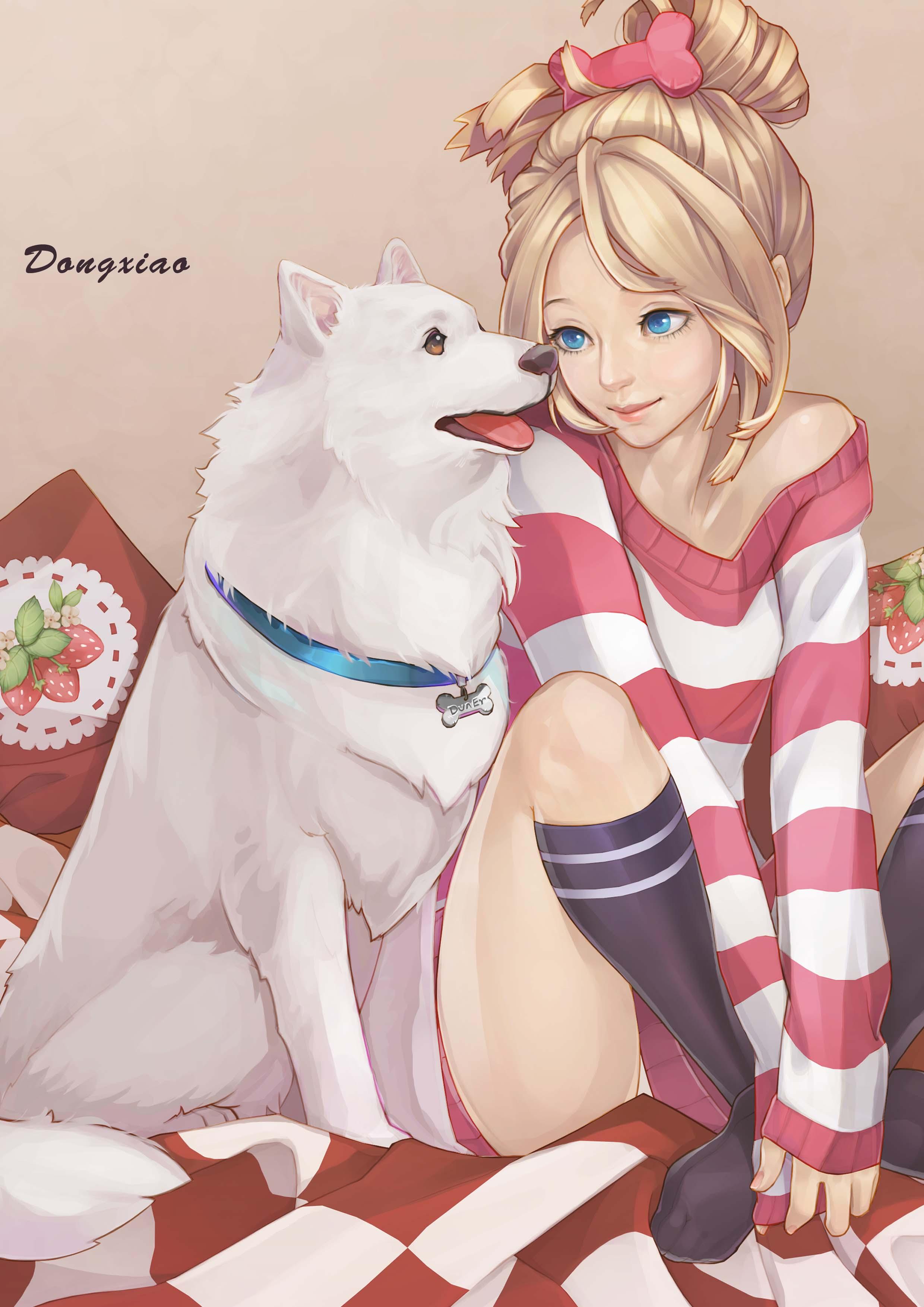 Открыток, картинки девочка с собакой аниме