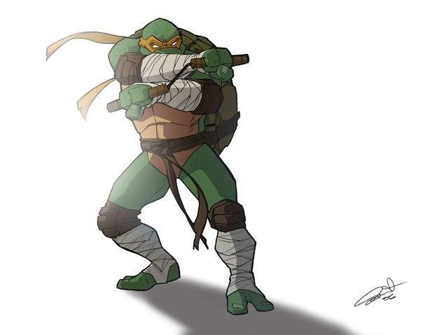 Фото Микеланджело / Michelangelo из мультика Черепашки - ниндзя / Teenage Mutant Ninja Turtles, art by CurroHerrero