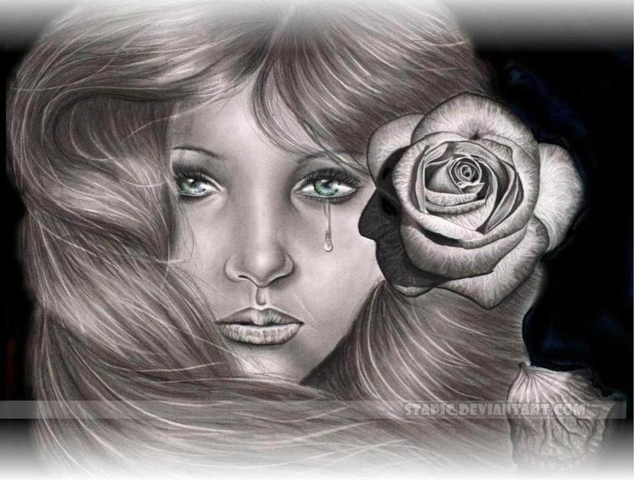 Фото Девушка со слезой на лице и розой в волосах, by Stapic