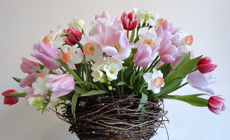 Цветы, в плетенной корзиночке, на белом фоне
