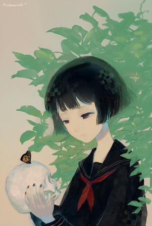 Фото Темноволосая девушка в школьной форме держит в руках череп, на котором сидит бабочка, автор AetearoA