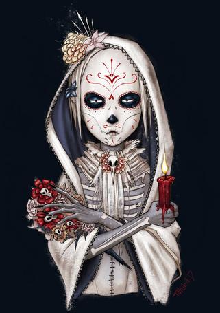 Фото Мальчик раскрашенный под скелета со свечкой в руке, art by nastynoser