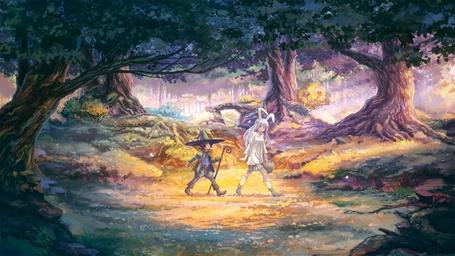 Фото Девушка - кролик и мальчик - маг идут по лесу