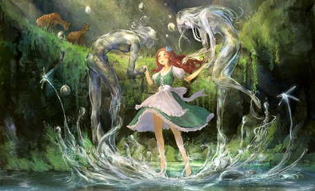 Фото Девушка и два водяных духа рядом с ней