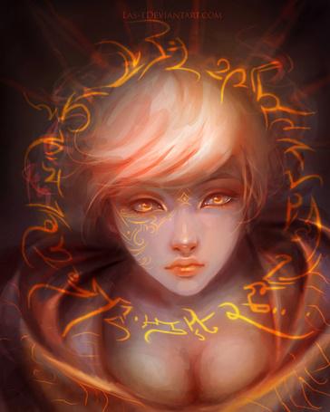 Фото Девушка с янтарными глазами и с магической татуировкой на лице, художник LAS-T