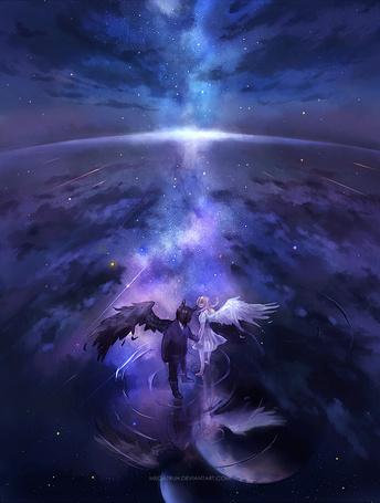 Фото Ангел и демон идут по воде, на фоне космоса, художник Megatruh