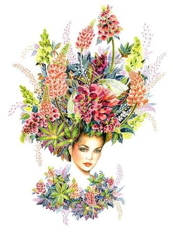 Фото Девушка с полевыми цветами на голове и у шеи, художница Sunny Gu