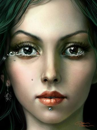 Фото Портрет темноглазой девушки с пирсингом под губой, из глаз которой вырываются крупные слезы, в ухе сережка в форме паука, франц. художник Diane Ozdamar